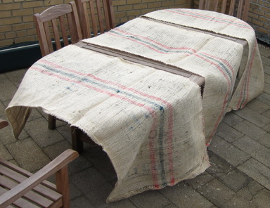 DIY-Upcycled Coffee Bean Bag Burlap Table Covering