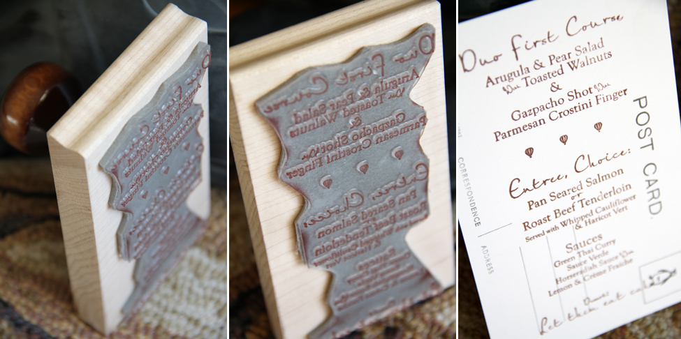 Poole Hardy Wedding Skinner Barn Vermont Menu Stamp