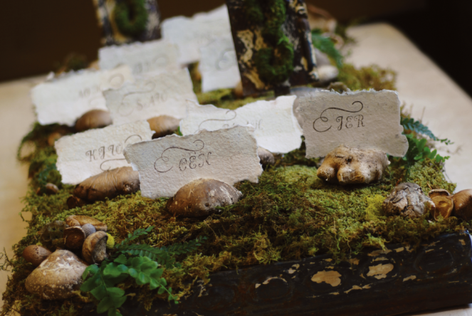 Vintage Look Parchement Paper Held by Fresh Mushrooms laid on bed of Moss