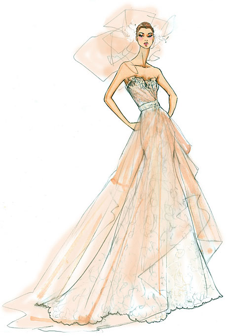 Blush Wedding Dress Sketch