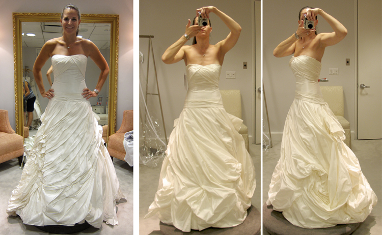 sample wedding dresses versus real wedding dresses photograph by sarah dicicco photography