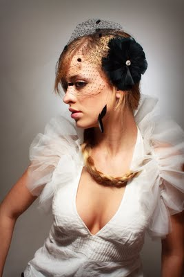 black birdcage veil with feather fascinator