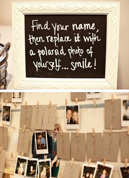 Reverse Polaroid Escort Cards