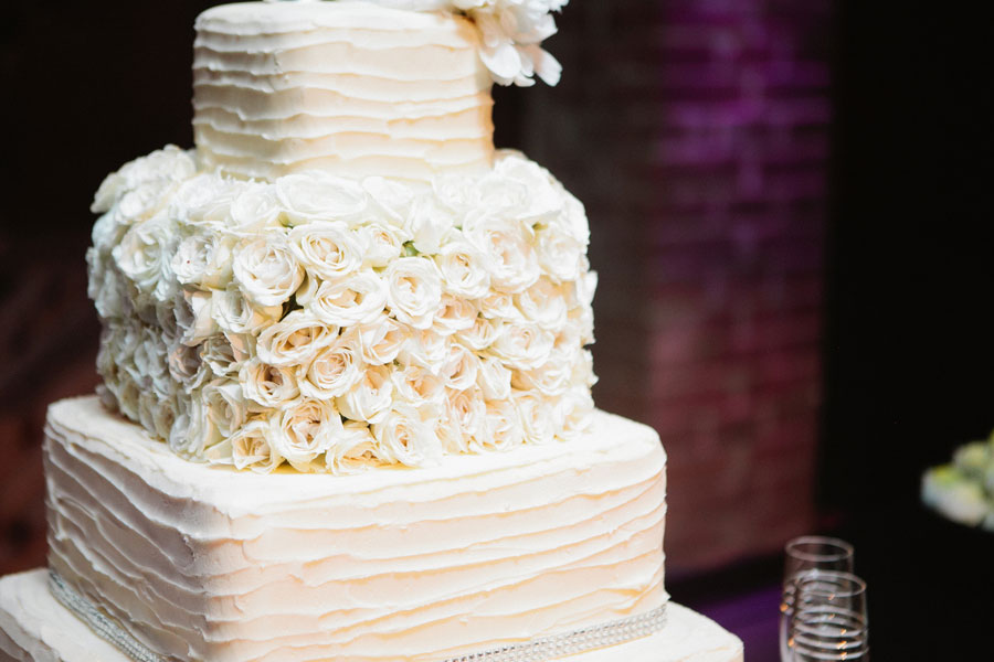 Textured Cake With Rose Mid Layer, Rhintestone Wrapped Bouquet, Black & Fuchsia Reception At This Dallas Lux Wedding