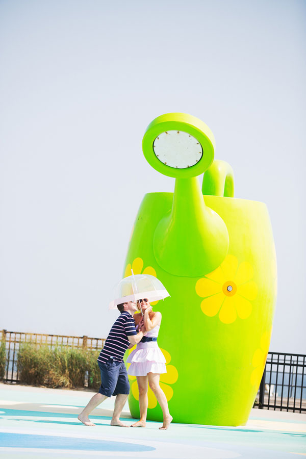 Asbury Park Sets The Tone For This Playful Summer Time Engagement Session At The Jersey Shore | Photograph by Adagion Studio
