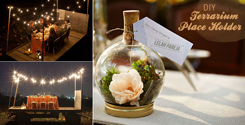 Bash Please Fall Dinner Under Twinkle Lights On Hay Wagon DIY-terrarium-placeholder- Green Wedding Shoes