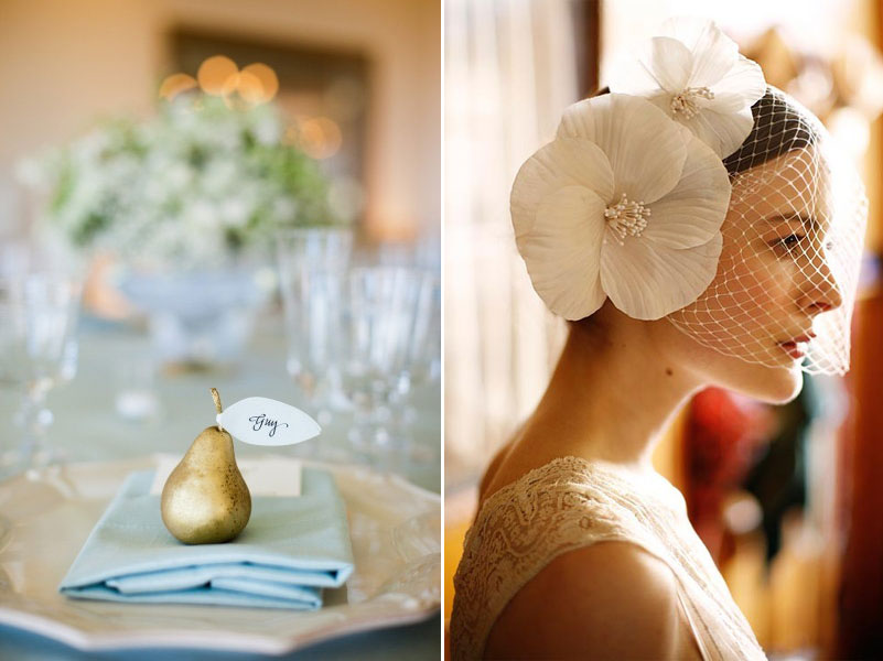 Golden Pear Escort Card Jennifer Behr's silk Double Poppy with Veiling