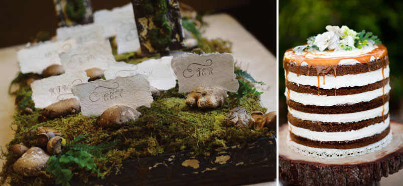 Moss World Escort Card Holders Rustic Layer Cake No Icing