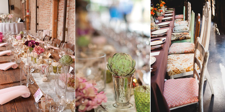 Rustic Artichoke Centerpieces Mixed match fabric seat cushions by Jenny DeMarco