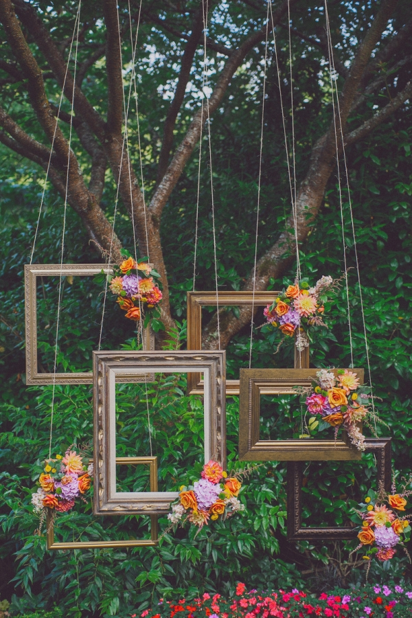 Bohemian Suspended Wood Picture Frame Ceremony Backdrop One Love Photo