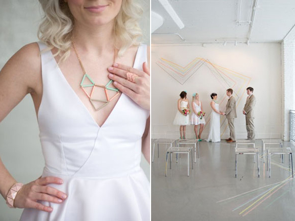 Geometric Styled Wedding By Indie Wed Amanda Megan Miller Photography via Green Wedding Shoes 7