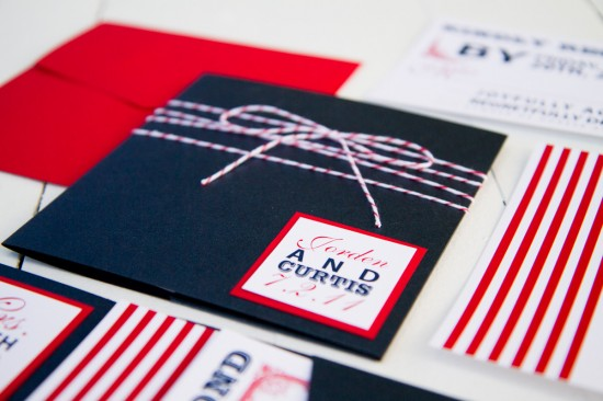 Red White Blue Wedding Invitations via Oh So Beautiful Paper Pink Piggy Design Kate Osborne Photography 2