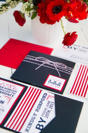Red White Blue Wedding Invitations via Oh So Beautiful Paper Pink Piggy Design Kate Osborne Photography 4