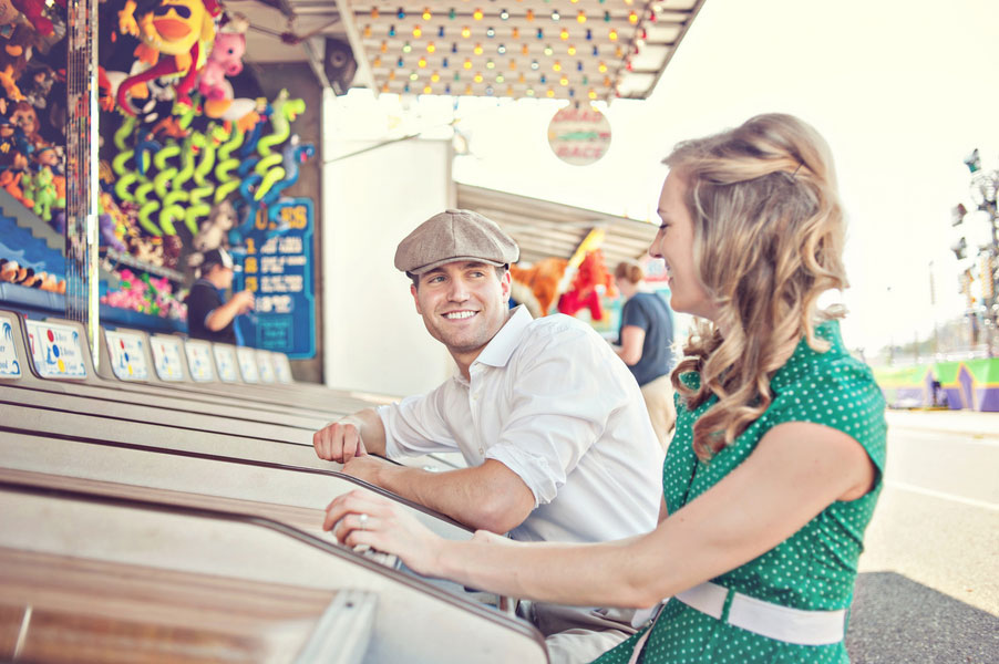 Vintage Inspired Small Town Carnival Summer Engagement Session | Photograph by Leah Moss Photography
