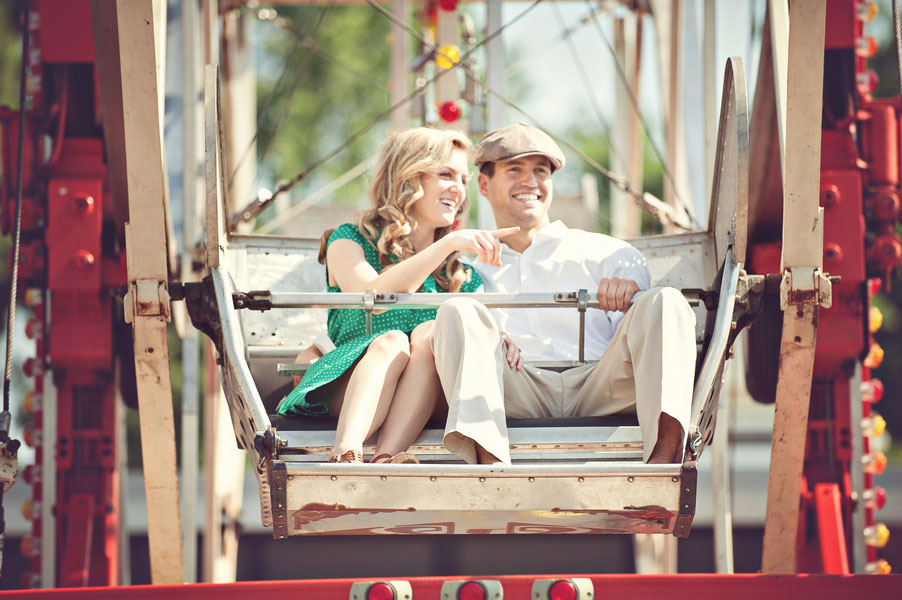 Vintage Carnival Engagement Photos Leah Moss Photography