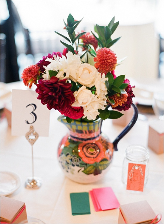 Cranberry Hued Dahlia Pitcher Centerpiece