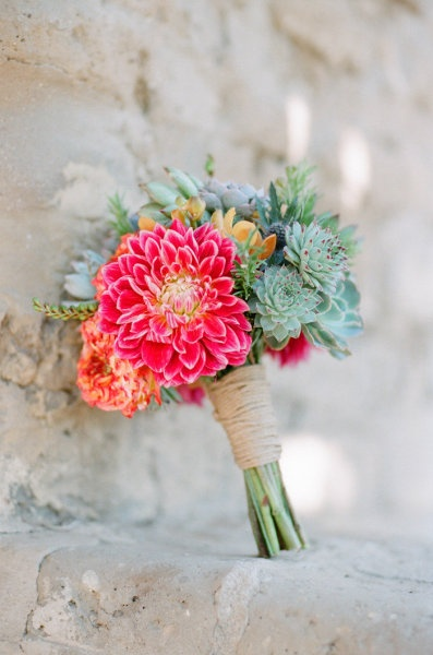 Hot Pink Dahlia And Succulent Bouquet