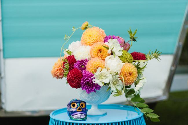 Mexican Folk Art Dahlia Arrangement