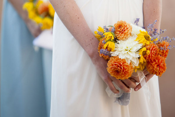 Orange Creamsicle Dahlia Wedding Bouquet