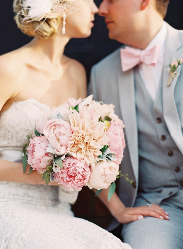 Pale Dahlia and Peony Wedding Bouquet