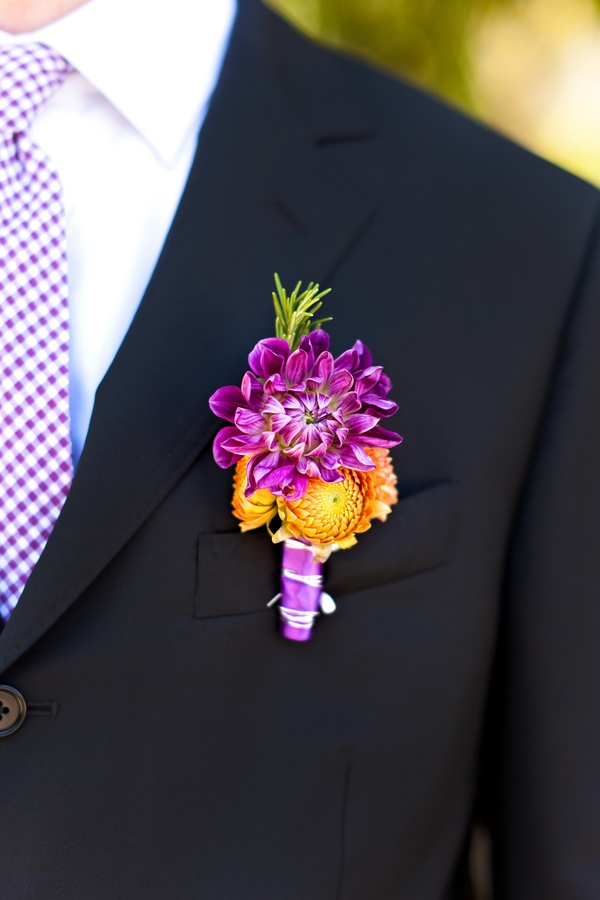 Purple Dahlia Boutonniere