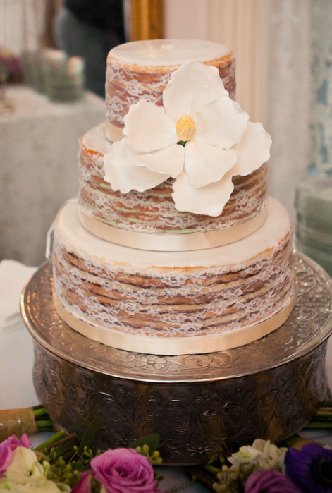 Blonde Naked Cake Wrapped In Lace