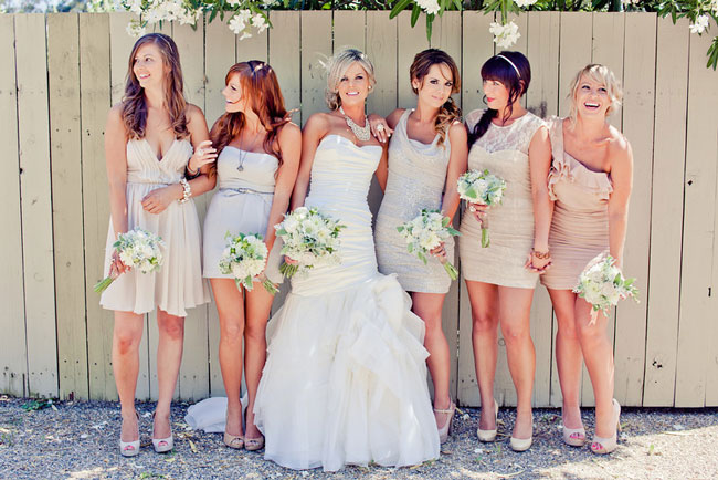 Mix Matched Neutral Tone Short Bridesmaid Dresses Jason and Anna Photography 1