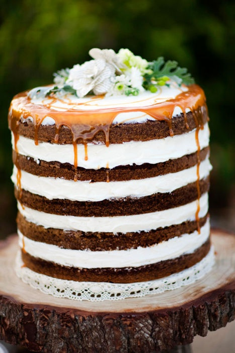 Naked Wedding Cake Carmel Drip