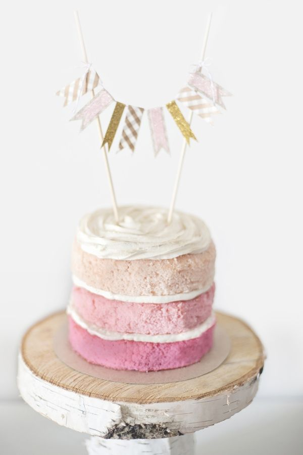 Naked pink ombre wedding cake via Ruffled