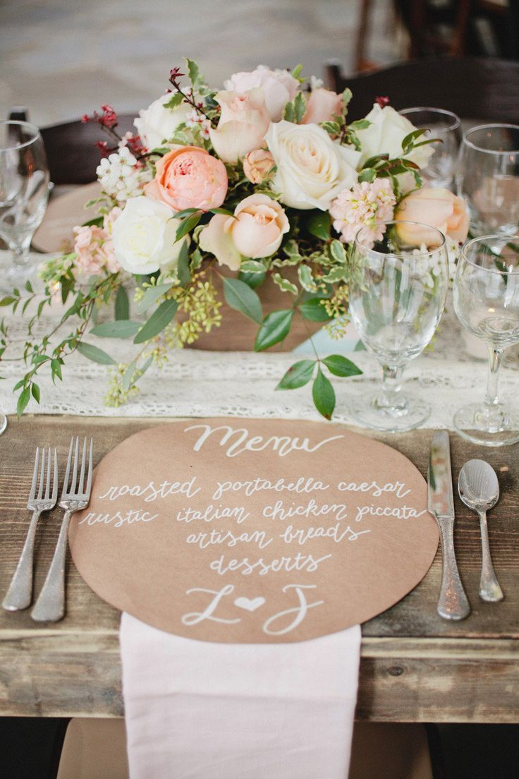 Round Kraft Paper Placemat Menu Kristyn Hogan Photography via Style Me Pretty
