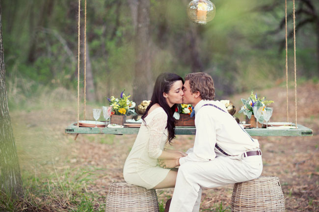Rustic Outdoor Suspended Table via Green Wedding Shoes Jess Graham Photography 2