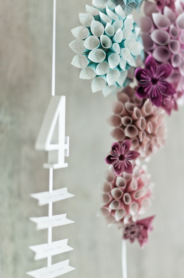 Suspended and hanging seating chart with paper cone flowers by eagle eyed bride Anushé Low Photography 1