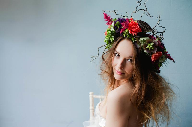 Avant Guard Abstract Floral Crown Alexa Loy via Bespoke Bride