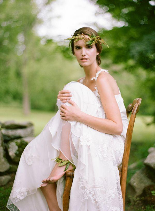 Petite Green Floral Crown White Loft Studio via Swooned
