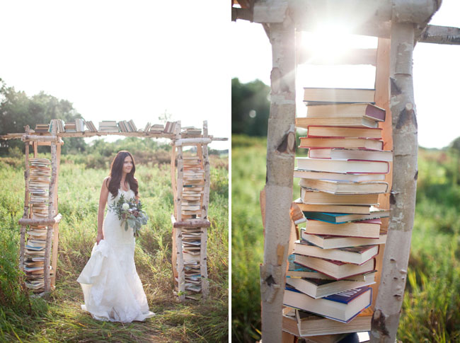 Birchwood Book Filled Ceremony Backdrop White Photographie Styling by She Walks In Beauty via Green Wedding Shoes 2